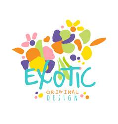exotic logo original design with tropical fruits vector image