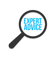 expert advice word magnifying glass vector image