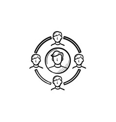 Family circle hand drawn sketch icon vector