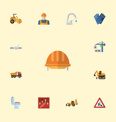 Flat icons toolkit hoisting machine caution and vector