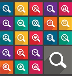 Flat search icons set vector