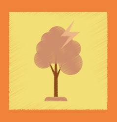 Flat shading style icon lightning tree vector