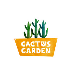 Garden cactus logo for advertising shops vector