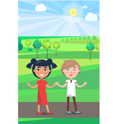 Girl and boy on path in park in sunny weather vector