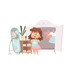 Girl dressing up cute baby choice clothes vector
