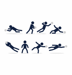 goalkeeper actions poses stick figure vector image