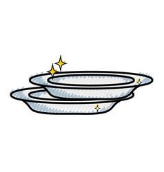 Grated porcelain dishes utensil cleaner design vector