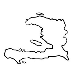 haiti map from contour black brush lines vector image