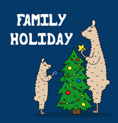 hand-drawn poster with a lama family decorate the vector image