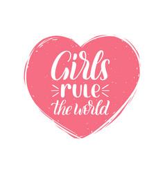 hand lettering girls rule world vector image