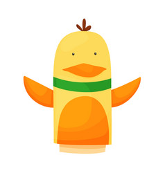 Hand or finger puppets play doll duckling cartoon vector