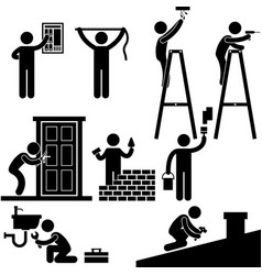 handyman electrician locksmith contractor working vector image