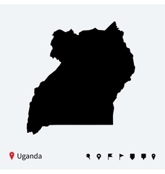 High detailed map of Uganda with navigation pins vector