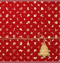 holiday pattern with christmas tree tag vector image