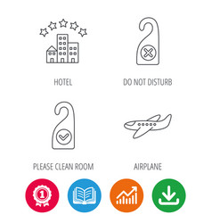 Hotel airplane and clean room icons vector