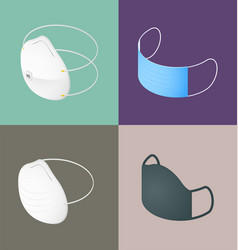 isometric medical masks n95 surgical dust cloth vector image