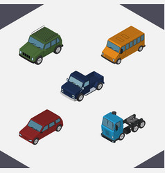 Isometric transport set of armored autobus truck vector