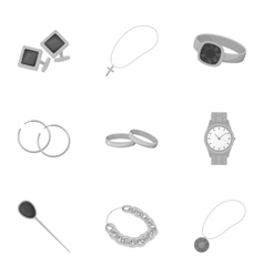 Jewelry and accessories set icons in monochrome vector