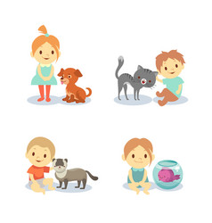Kids and pets isolated on white background - boys vector