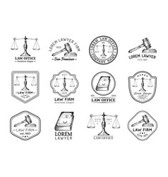 Law office icons set with scales of justice gavel vector