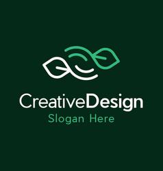 Leaf outline naturally creative business logo vector