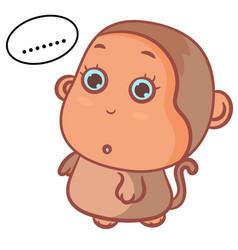 Little boy monkey confused scene vector