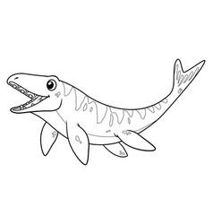 little mosasaurus cartoon bw vector image