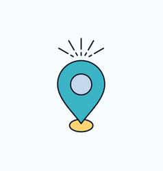 Location pin camping holiday map flat icon green vector