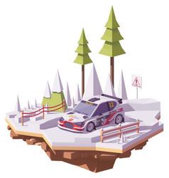 Low poly rally racing car vector