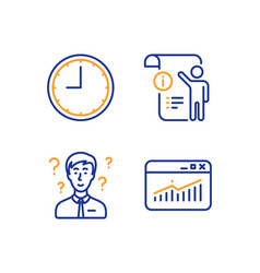 Manual doc support consultant and time icons set vector