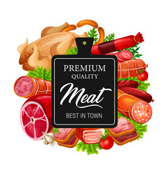 Meat sausages beef pork and chicken with herbs vector