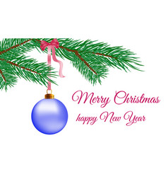 merry christmas happy new year text greeting card vector image
