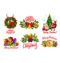 merry christmas santa gifts and wreath decorations vector image