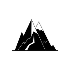 mountain peaks silhouette icon in flat style vector image