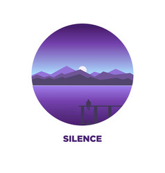 night silence round logo icon isolated on white vector image