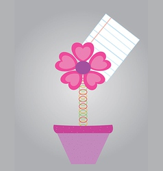 Note paper with flower in pots vector image