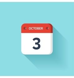 October 3 Isometric Calendar Icon With Shadow vector