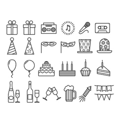 Party birthday holidays icons thin line vector image