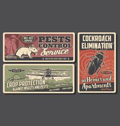 pest control exterminator cockroach rat plane vector image