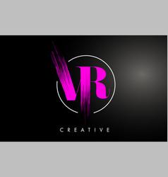 Pink vr brush stroke letter logo design vector