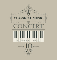 poster for concert classical music with piano keys vector image