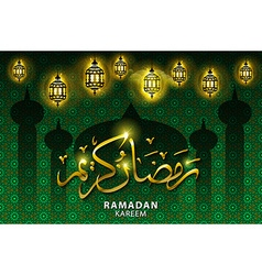 Ramadan greeting card on green background Ramadan vector