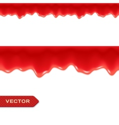Red Drips Seamless Border Strawberry or vector image