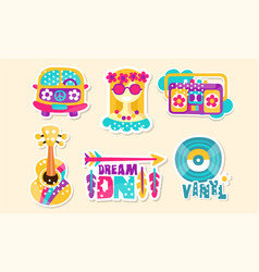 retro hippie patches and emblems collection cute vector image