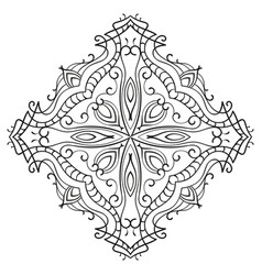 rhombus ornamental mandala with cross in middle vector image