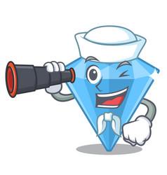 Sailor with binocular sapphire gem in a mascot box vector