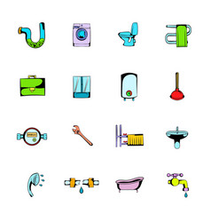 Sanitary engineering comics icons set cartoon vector