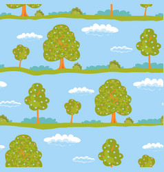 seamless background summer landscape green trees vector image
