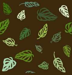 seamless pattern of colorful leaves monstera vector image
