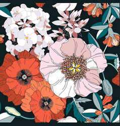 seamless pattern with spring flowers on dark vector image